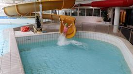 Big yellow slide at the Trabolgan Subtropical Pool Paradise